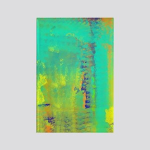Abstract in Turquoise, Gold, and  Rectangle Magnet