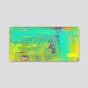 Abstract in Turquoise, Gold Aluminum License Plate