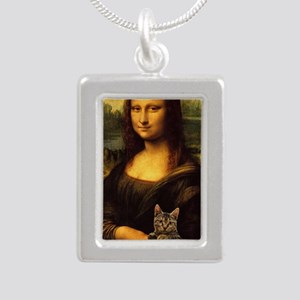 Monalisa with cat Silver Portrait Necklace
