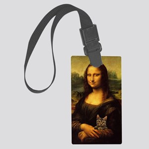 Monalisa with cat Large Luggage Tag