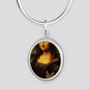 Monalisa with cat Silver Oval Necklace