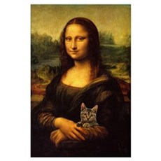 Monalisa with cat Poster