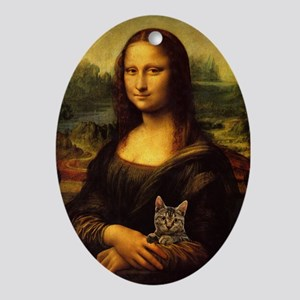 Monalisa with cat Oval Ornament
