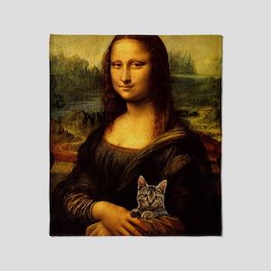 Monalisa with cat Throw Blanket