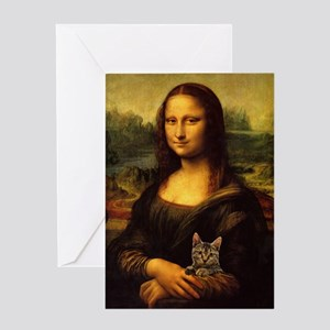 Monalisa With Cat Greeting Card