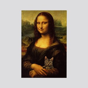 Monalisa with cat Rectangle Magnet