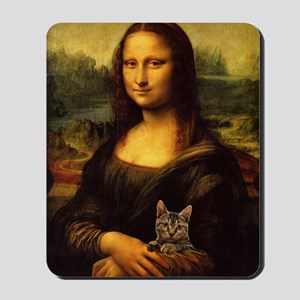 Monalisa with cat Mousepad