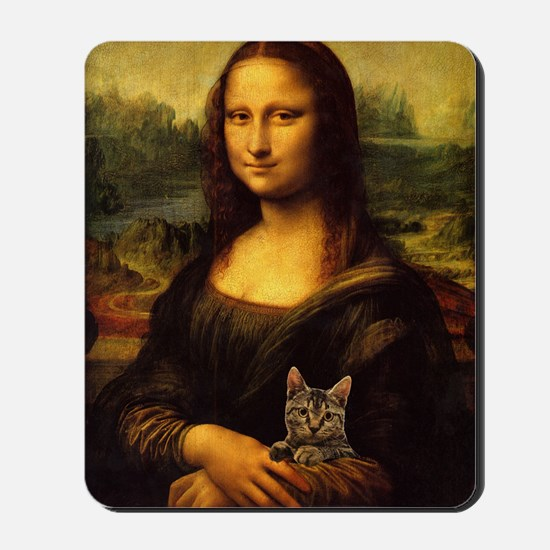 Monalisa with cat Mousepad