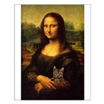Monalisa with cat Small Poster