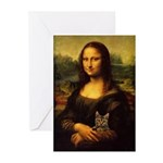 Monalisa with cat Greeting Cards