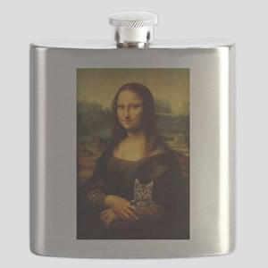 Monalisa with cat Flask
