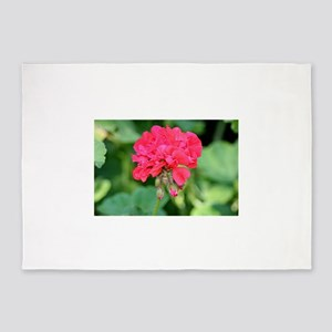 Geranium flower (red) in bloom in g 5'x7'Area Rug
