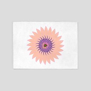 Flower peach lavendar purple hot pi 5'x7'Area Rug