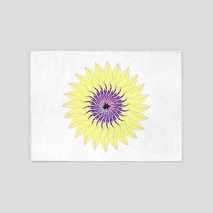 Flower lavendar purple yellow flora 5'x7'Area Rug