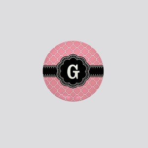 Pink Quatrefoil Pattern Black Floral Monogram Mini