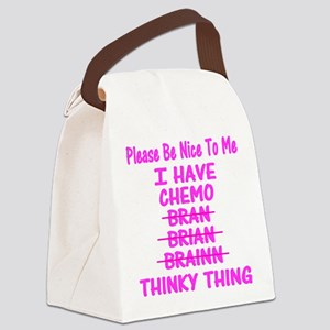 Funny Cancer Chemo Brain Pink Canvas Lunch Bag