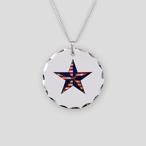 Patriotic Star Necklace Circle Charm