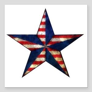 """Patriotic Star Square Car Magnet 3"""" x 3"""""""