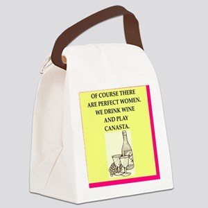 perfect women drink wine Canvas Lunch Bag