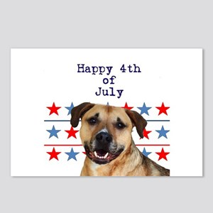 4th of July Pitbull Postcards (Package of 8)