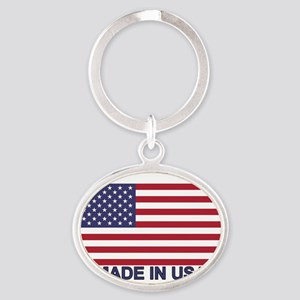 MADE IN USA (w/flag) Oval Keychain