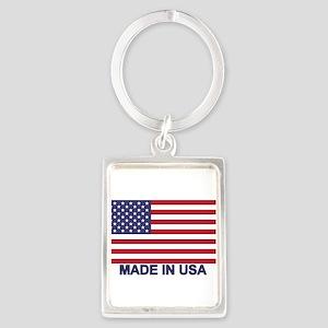 MADE IN USA (w/flag) Portrait Keychain