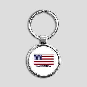 MADE IN USA (w/flag) Round Keychain