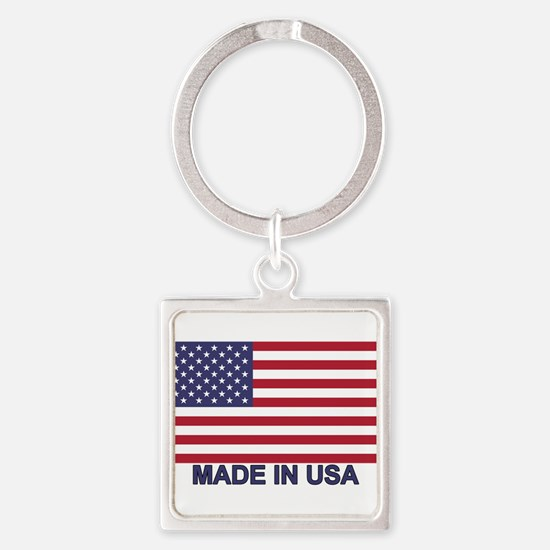 MADE IN USA (w/flag) Square Keychain