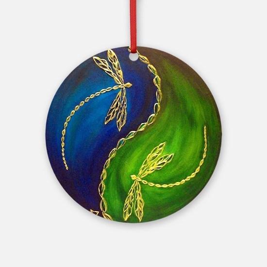 Balance: Dragonfly Round Ornament