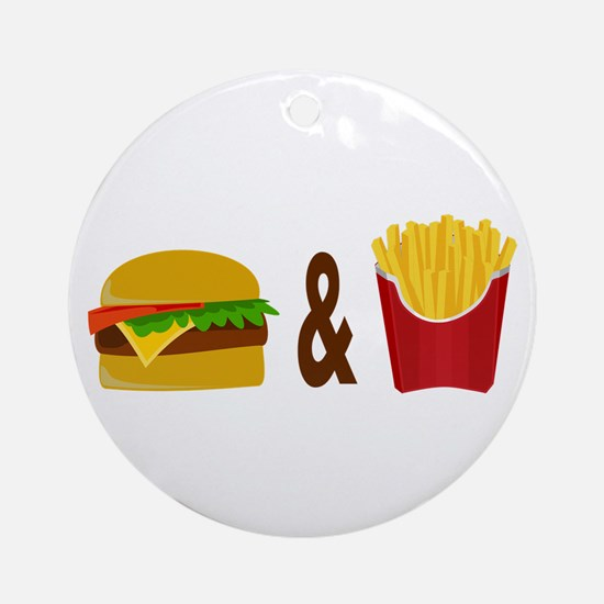 Burger and Fries Ornament (Round)