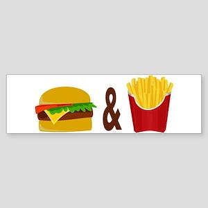 Burger and Fries Bumper Sticker