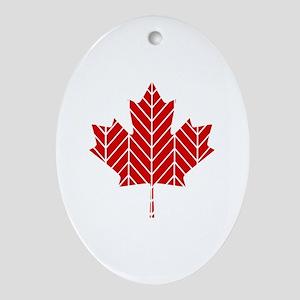 Chevron Maple Leaf Ornament (Oval)