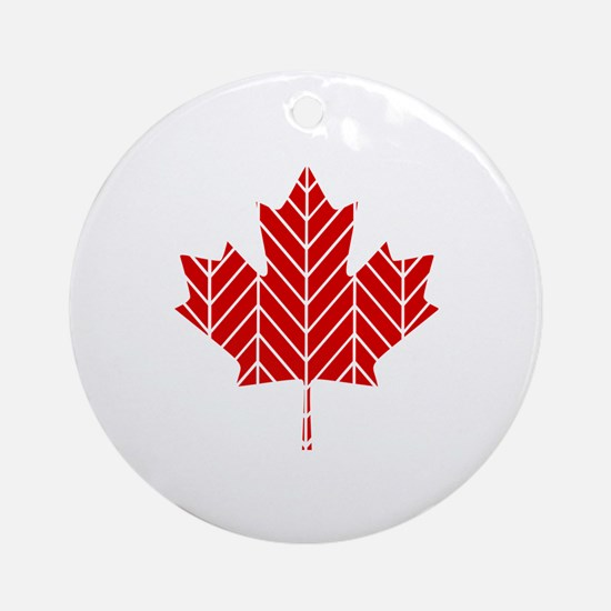 Chevron Maple Leaf Ornament (Round)