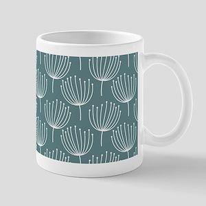 Abstract Dandelions on Gray Blue Backgr Mug