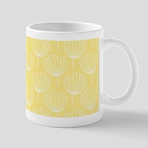 Abstract Dandelions on Pale Yellow Mug