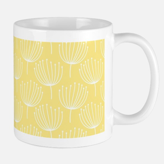 Abstract Dandelions on Pale Yellow Mug
