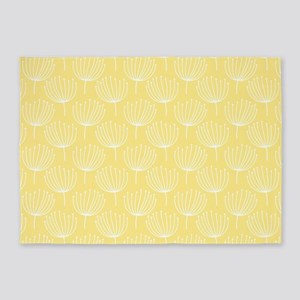 Abstract Dandelions on Pale Yellow 5'x7'Area Rug