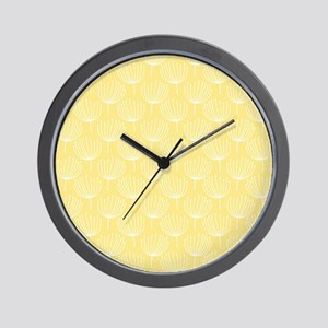 Abstract Dandelions on Pale Yellow Wall Clock
