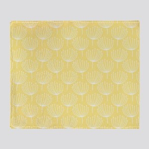 Abstract Dandelions on Pale Yellow Throw Blanket