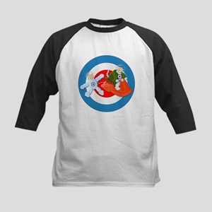 Space Cats on Scooter Kids Baseball Jersey