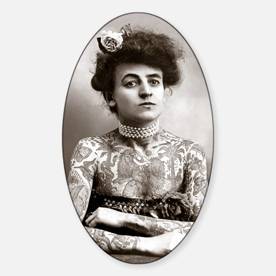 Tattooed Lady, 1907 Sticker (Oval)