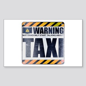 Warning: Taxi Rectangle Sticker