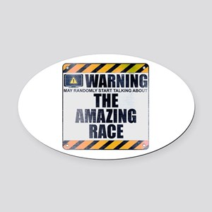Warning: The Amazing Race Oval Car Magnet