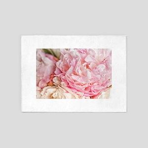Blooming pink peonies 2 5'x7'Area Rug