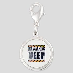 Warning: Veep Silver Round Charm