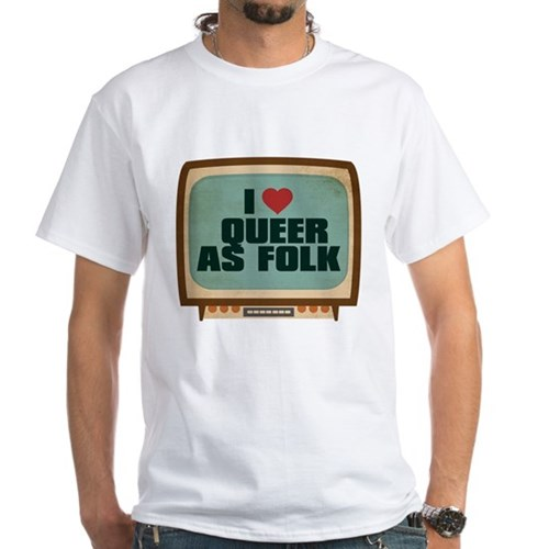 Retro I Heart Queer as Folk White T-Shirt