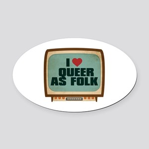 Retro I Heart Queer as Folk Oval Car Magnet