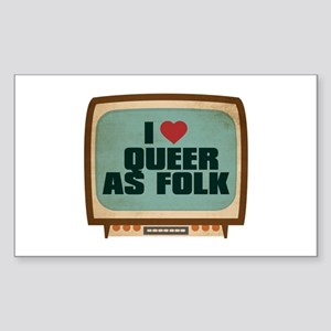 Retro I Heart Queer as Folk Rectangle Sticker