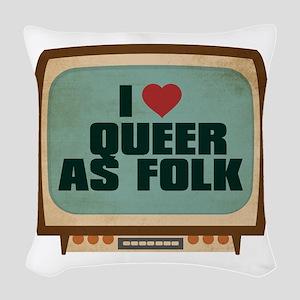 Retro I Heart Queer as Folk Woven Throw Pillow