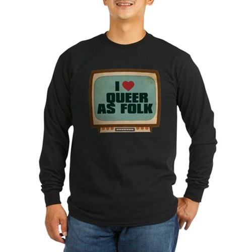 Retro I Heart Queer as Folk Long Sleeve Dark T-Shi